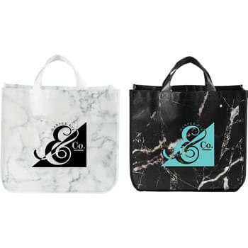 Marble Laminated Non-Woven Tote - Modern, sleek and on trend. Large open main compartment with snap closure. Laminated material easily wipes clean.