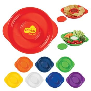 Party Tray - Includes Lid For Center Compartment  | Microwave Safe   | BPA Free | Hand Wash Recommended