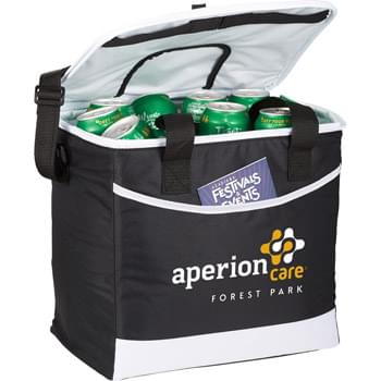 Chill Out 36 Can Cooler  - Zippered main compartment holds 36 cans. Front pocket for snacks. Insulated leak proof PEVA lining.