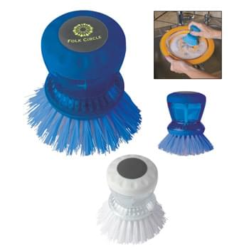 Kitchen Scrub Brush - Fill Soap Reservoir And Push Top Button To Release Soap Onto Brush | Cleans Dishes, Pots, Pans, Etc.
