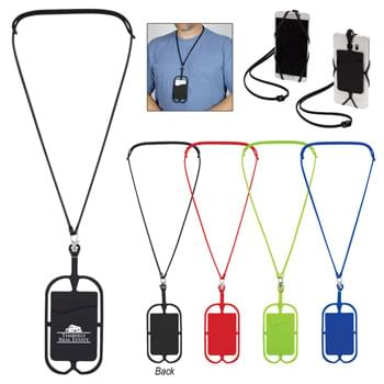 "Silicone Lanyard With Phone Holder & Wallet - 14"" Lanyard With 7"" Holder 