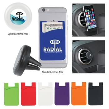 Auto Air Vent Magnetic Phone Wallet - Silicone Wallet Includes Magnetic Plate To Adhere To Mount | Vent Mount Installs Easily To Securely Hold Your Phone With No Sticky Residue | Fits Most Straight Automobile Air Vents And Has Kickstand Ability On Flat Surfaces | Phone Wallet Is Perfect For Holding Identification, Room Keys, Cash Or Credit Cards |Mount: Black or White. Must Specify on Order.