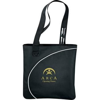 "Lunar Convention Tote - Perfect budget tote style for tradeshows, conventions, and business meetings. Open main compartment. Two elastic pen loops and D-ring. 12.5"" handle drop height."