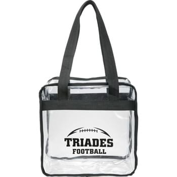 "Game Day Clear Zippered Safety Tote - As part of  Game Day Collection, this clear tote is perfect for fans packing their stadium and event day items safely. Also great for workplace safety. Zippered main compartment. Dual carry handles with 10"" handle drop height. Note that if the bag is being carried into an NFL stadium, the NFL requires that logo sizes do not exceed 4.5"" tall by 3.4"" wide."
