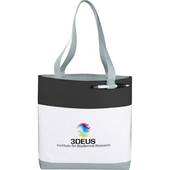 "Great White Convention Tote - Part of the Split Decision Trend Collection. Fresh budget tote style for tradeshows, conventions, and business meetings features refreshing hues and the popular color dip trend. Open main compartment. Pen loop. 12"" handle drop height."
