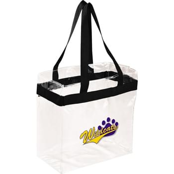 "Game Day Clear Stadium Tote - As part of  exclusive Game Day Collection, this clear tote is perfect for fans packing their stadium and event day items safely. Also great for workplace safety. Open main compartment with sporty webbing trim and dual carrying handles. Note that if the bag is being carried into an NFL stadium, the NFL requires that logo sizes do not exceed 4.5"" tall by 3.4"" wide."