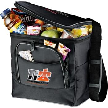 New Connections 24-Can Collapsible Cooler - Perfect for your picnic and outdoor event needs. Zippered main compartment holds up to 24 cans. Zippered front pocket. Adjustable shoulder strap. Insulated PEVA lining. Collapses for easy storage.