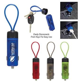 Luminous USB Car Charger Key Strap - Compatible With Most Standard Cigarette Lighter Ports | Glows When Plugged Into Port | Input: 12-24 Volts. Output: 5 Volts/1 Amp | Disconnects From Keys For Easy Use | Open Strap To Add Keys | Cords Not Included
