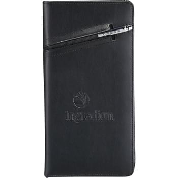 Cross® Travel Wallet with Pen - Set includes the 2767-35 Cross® Travel Wallet and 2767-99 Cross® Signature Mini Pen.  Premier leather wallet features a cleverly integrated pen sleeve that's ideal for storing the complimenting Cross® pen.  Zippered closure keeps contents secure.  Interior organization includes a passport holder, ID holder, three business or credit card pockets, elastic pen loop, zippered pocket, and boarding document holder.