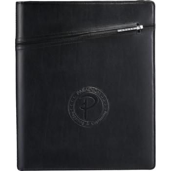 "Cross® Zippered Padfolio - Premier leather cover features a cleverly integrated pen sleeve that's ideal for storing the complementing Cross® pen.  Zippered closure keeps contents secure.  Interior tablet pocket includes a scratch-proof lining and velcro closure to keep tablets safe and secure.  Organizational panel equiped with pen or stylus loops, business card pockets and a universal smartphone case.  Includes an 8.5"" x 11"" Cross® writing pad."