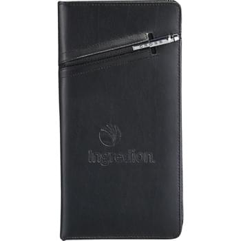 Cross® Travel Wallet - Premier leather wallet features a cleverly integrated pen sleeve that's ideal for storing the complimenting Cross® pen (2767-99).  Zippered closure keeps contents secure.  Interior organization includes a Passport holder, ID holder, three business or credit card pockets, elastic pen loop, zippered pocket, and boarding document holder.