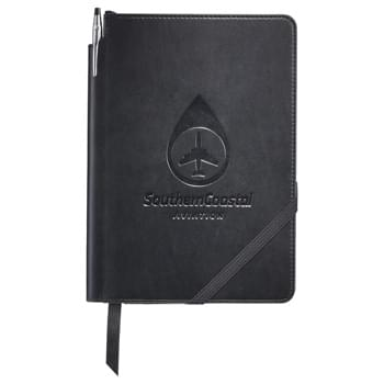 Cross® Medium Bound Notebook Gift Set - Superior Cross® branded notebook gift set is the perfect executive gift. Features high quality, leatherette cover with angled elastic closure and ribbon page marker. 80 sheets of cream lined and perforated pages. Unique pen slot in spine. Comes with Cross