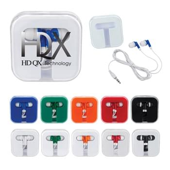 "Ear Buds In Compact Case - Protective Plastic Travel Case | Works With Most Audio Devices | 48"" Cord"