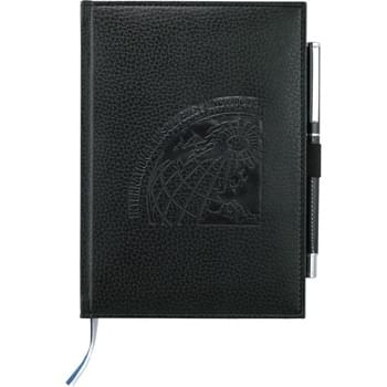Vicenza Bound JournalBook - Elastic pen loop. Blue and silver ribbon page markers. Includes 96 sheets of lined paper.