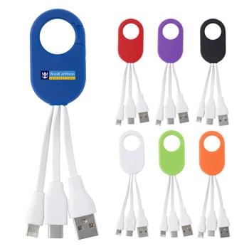 3-In-1 Charging Buddy With Carabiner Clip - Compatible With Apple® 8-Pin, Micro USB And Type-C Devices | Simply Plug The Cable Into A Powered USB Port And Then Into Your Device Or Smartphone | Charge Multiple Devices At Once When Using An Ample Power Source | Apple is a registered trademark of Apple Inc., registered in the U.S. and other countries.