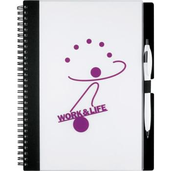 Essence Large JournalBook - 70 sheets of spiral bound lined paper. Elastic pen loop. Important contacts page and calendar.