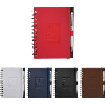 Ambassador Spiral JournalBook  - 100 sheets of spiral bound lined paper. Elastic pen loop. Built in elastic closure. Includes important contacts sheet and calendar.