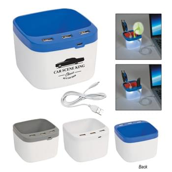 USB Desk Caddy - Convenient Caddy Holds Pens, Notes And More! | Lights Up When USB Ports Are In Use | Connect To Multiple USB Devices At Once! | 3 High Speed USB Ports | Cable Included