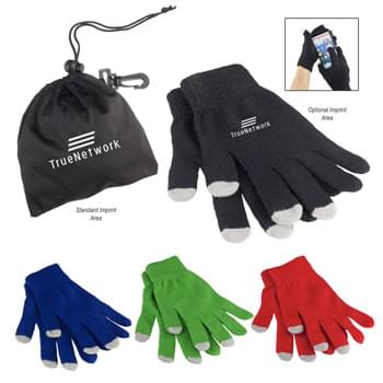 Touch Screen Gloves In Pouch - Gloves Are Made Of Acrylon With Acrylic Tips. Pouch is Polyester. | Use Your Touch Screen Devices Without Having To Remove Your Gloves! | Includes 3 Touch Fingers (Thumb, Index And Middle Fingers) | One Size Fits Most