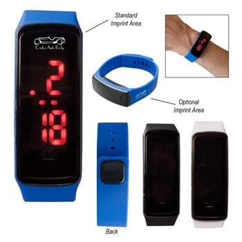 Rectangle Unisex Digital LED Watch - CLOSEOUT! Please call to confirm inventory available prior to placing your order!<br />Silicone Strap With Double Snap Closure | Watch Includes Hour, Minute, Second, Month And Day Functions | Touch Button To Change Functions | Bright Red LED Light Illuminates Face