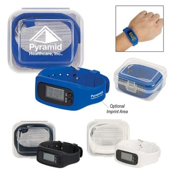 Digital LCD Pedometer Watch In Case - Silicone Strap With Buckle Closure | Multi-Function, Large Easy To Read Display | Watch Includes Hour And Minute Functions | Counts Steps, Miles, Kilometers And Calories | Records From 1 To 99,999 Steps | Touch Buttons To Change Functions | Clear Plastic Case For Easy And Convenient Storage