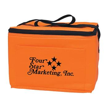 "Non-Woven Insulated Six Pack Kooler Bag - CLOSEOUT! Please call to confirm inventory available prior to placing your order!<br />Made Of 80 Gram Non-Woven, Coated Water-Resistant Polypropylene | Insulated To Keep In The Cold | Front Pocket | 20"" Strap 