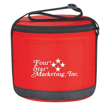 Cans-To-Go Round Kooler Bag - Made Of 210D Polyester | Front Pocket | Adjustable Shoulder Strap | Top Zippered Closure | Foil Laminated PE Foam Insulation | Spot Clean/Air Dry