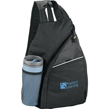 Tempo 100% Recycled PET Sling - Made from 100% post-consumer recycled PET. Main zippered compartment. Quick-access slash pocket with Velcro™ closure. Side mesh beverage pocket. Adjustable shoulder strap. Carry handle. EcoSmart educational hangtag.