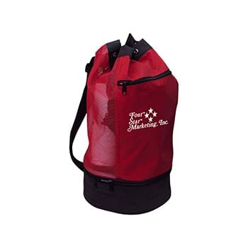 Beach Bag With Insulated Lower Compartment - Made Of 70D Nylon | Adjustable Web Shoulder Strap | Mesh Back Upper Compartment With Adjustable Drawstring | Insulated Lower Compartment With PEVA Lining | Outside Front Zippered Pocket | Spot Clean/Air Dry