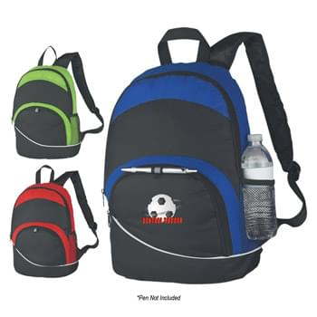 Curve Backpack - Made Of Combo: 600D Polyester And Dobby Non-Woven | Adjustable Padded Shoulder Straps And Web Carrying Handle | Side Mesh Pocket | Front Zippered Pocket | Loop For Attaching Pen Or Keys | Zippered Main Compartment | Spot Clean/Air Dry