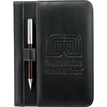 "Stratford Jr. Writing Pad - External elastic loop and 3 internal elastic loops for holding USB memory flash drives and pens. 4 business card pockets. Clear ID  window. Document pocket. Holds most Kindle and Nook products. Includes 5"" x 8"" lined writing pad."