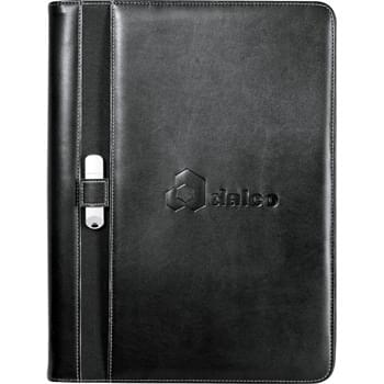 "Stratford Zippered Padfolio - Zippered closure. Interior organizer features zippered and gusseted pockets, interior elastic loop, and business card pockets. External pen  and USB memory flash drive loop. Includes 8.5"" x 11"" writing pad."