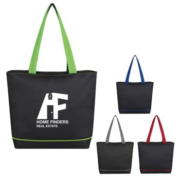 "Streamline Tote Bag - Made Of 600D Polyester With PVC | Top Zippered Closure | 25"" Padded Mesh Handles 