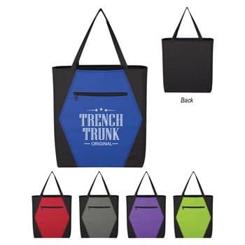 "Two-Tone Hexagon Tote Bag - Made Of 600D Polyester | Front Zippered Pocket | 4 1/2"" Gusset 