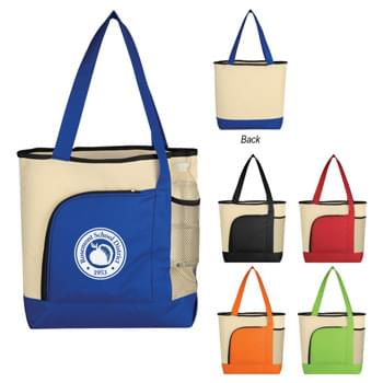 "Around The Bend Tote Bag - Made Of 600D Polyester | Front Zippered Pocket | Side Mesh Pocket | 22"" Handles 