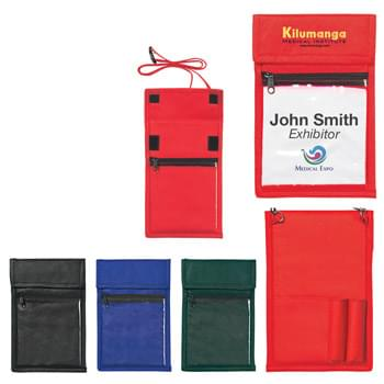 "Non-Woven Neck Wallet Badge Holder - CLOSEOUT! Please call to confirm inventory available prior to placing your order!<br />Made Of 80 Gram Non-Woven, Coated Water-Resistant Polypropylene | 4 1/2"" x 5"" Clear Plastic Badge Window, Outside Business Card Pocket And 2 Pen Loops 