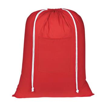 Cotton Laundry Bag - Made Of 100% Cotton | Drawstring Closure | Front Pocket | Spot Clean/Air Dry