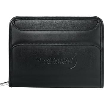 "Burke Jr. Zippered Padfolio - Zippered closure. Internal organizer features business card pockets, clear ID window, gusseted pocket, and pen loop. Holds most Kindle and Nook products.  Includes 5.5""  x 8"" writing pad."