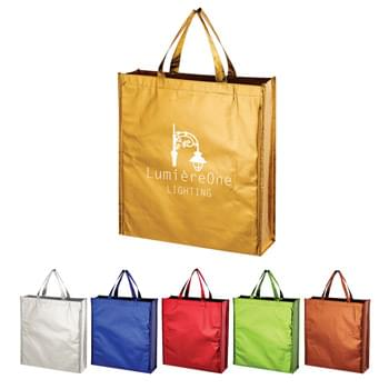 "Metallic Non-Woven Shopper Tote Bag - CLOSEOUT! Please call to confirm inventory available prior to placing your order!<br />Made Of 80 Gram Laminated Non-Woven, Coated Water-Resistant Polypropylene | Great For Grocery Stores, Markets, Book Stores, Gift Bags, Etc. | Reusable | Recyclable | 15 1/2"" Handles 