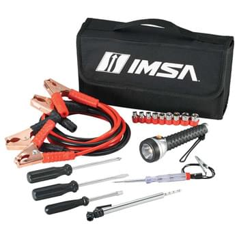 Highway Jumper Cable and Tools Set - Be prepared when your car won't start with this jumper cable and tool set.  This set includes jumper cables, nine piece socket set, slotted screwdriver, Philips screwdriver, socket driver, flashlight, test light and tire gauge packaged in a convenient carrying case.