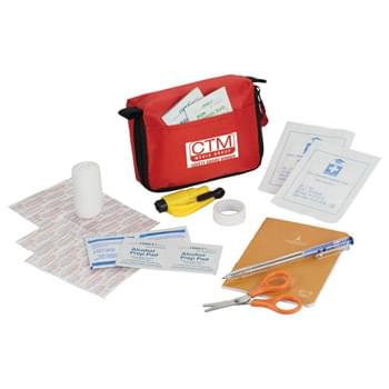 StaySafe Accident Kit - Stay safe with this 38 piece first aid accident kit.  Kit includes one triangular bandage, ten 19x72mm adhesive bandages, ten 10x40mm adhesive bandages, two non-woven gauze, four alcohol pads, two BKZ swabs, two cleansing wipes, PBT bandage, ballpoint pen, notebook, scissors, adhesive tape and window breaker.