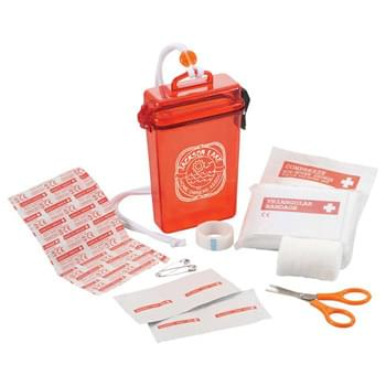 StaySafe Waterproof First Aid Kit - Stay safe with this 20 piece first aid kit packaged in a waterproof case with lanyard.  First aid kit includes five large bandages, four alcohol pads, PBT bandage, triangular bandage, non-woven pad, two safety pins, scissors, and tape.