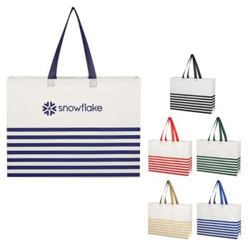 "Non-Woven Horizontal Stripe Tote Bag - Made Of 80 Gram Non-Woven, Coated Water-Resistant Polypropylene | Heat Sealed Seams | Recyclable | Reusable | 17 ½"" Handles 