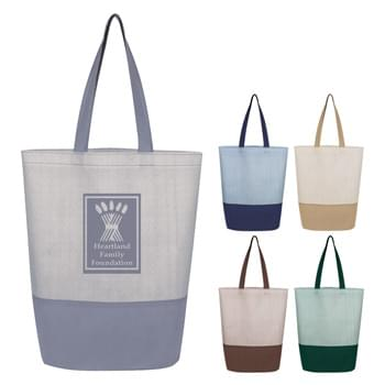 "Herringbone Non-Woven Tote Bag - Made Of 80 Gram Non-Woven, Coated Water-Resistant Polypropylene | 6 ¼"" Bottom Gusset   