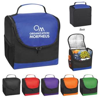 Non-Woven Thrifty Lunch Kooler Bag - Made of 80 Gram Laminated Non-Woven, Coated Water-Resistant Polypropylene | Foil Laminated PE Foam Insulation | Double Zippered Main Compartment | Side  Mesh  Pocket | Web Carrying Handle | Spot Clean/Air Dry
