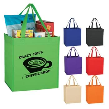 "Non-Woven Shopping Tote Bag - Made Of 80 Gram Non-Woven, Coated Water-Resistant Polypropylene | Great For Grocery Stores, Markets, Book Stores, Etc. | 8"" Gusset 