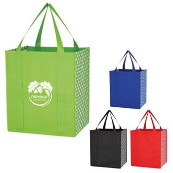 "Non-Woven Curved Diamond Tote Bag - Made Of 80 Gram Non-Woven, Coated Water-Resistant Polypropylene | Great For Grocery Stores, Markets, Book Stores, Etc. | 9 1/2"" Gusset 