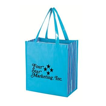 "Shiny Laminated Non-Woven Tropic Shopper Tote Bag - Made Of 80 Gram Laminated Non-Woven, Coated Water-Resistant Polypropylene | 21"" Handles 