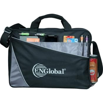 "Angle Compu-Brief - Zippered main compartment includes a padded laptop sleeve. Holds most 15"" laptops. Velcro front pocket with organization panel. Pen loop and side mesh pocket. Adjustable shoulder strap and two carry handles."