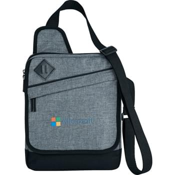 Graphite Tablet Bag - Main compartment is padded for your iPad or tablet.  Protect front flap has a zippered pocket as well as an open pocket underneath for additional storage. Adjustable shoulder strap.